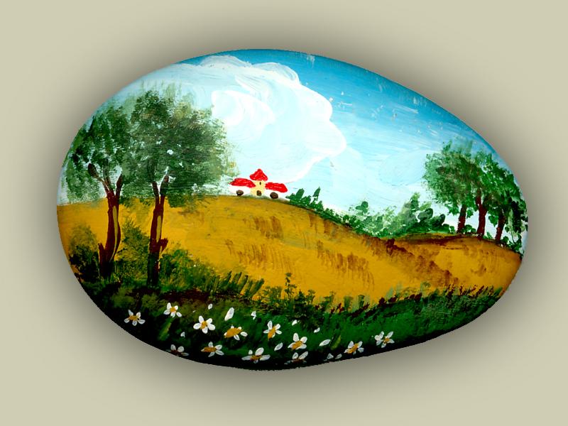 Sasso dipinto con soggetto rurale