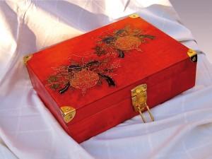 cassetta vini decorata a decoupage natalizia