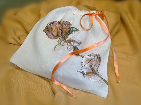 Sacchetto in lino dipinto a mano