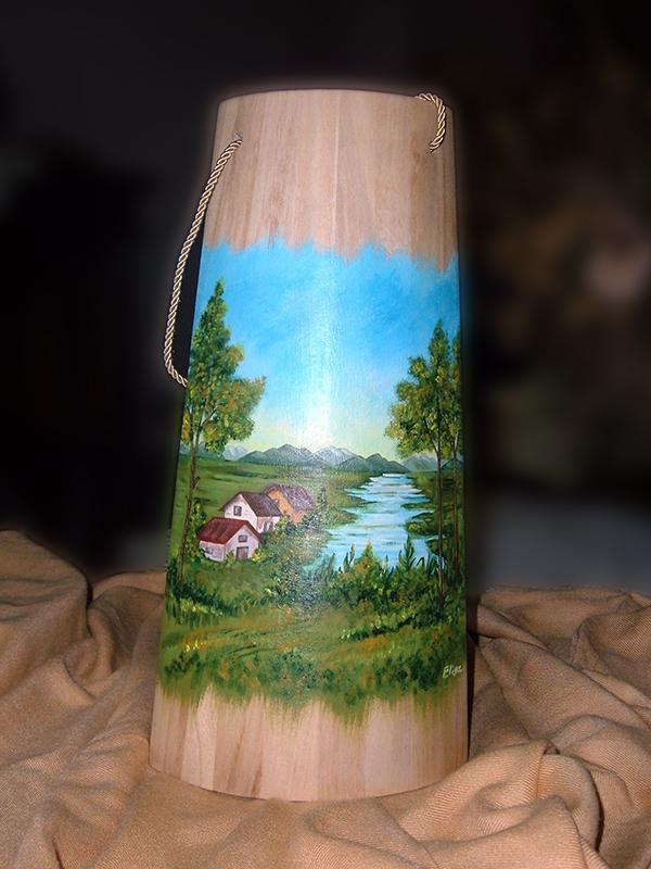 Tegole in legno dipinte a mano